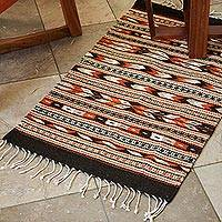 Zapotec wool rug, 'Oaxaca Night' (2x3.5)