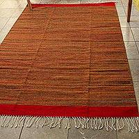 Zapotec wool rug, 'Fire Walk' (4x6.5)