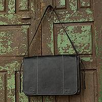 Leather briefcase, 'Success' - Handmade Black Leather Professional Style Modern Briefcase
