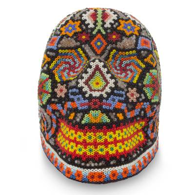 Beadwork skull, 'Long Live Death' - Artisan Crafted Huichol Beaded Skull Sculpture from Mexico