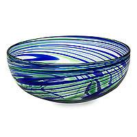 Blown glass salad bowl, 'Elegant Energy' - Hand Crafted Blown Glass Salad Bowl in Blue and Green Swirls