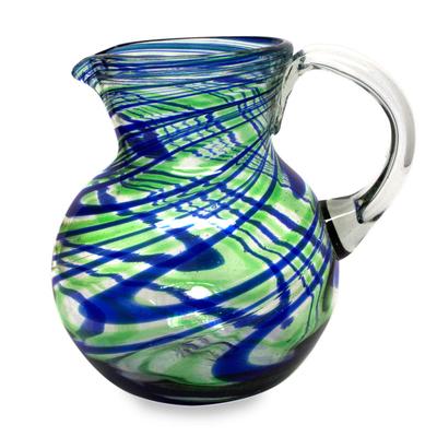 Blue and Green Swirls Hand Blown Glass Pitcher (84 oz)