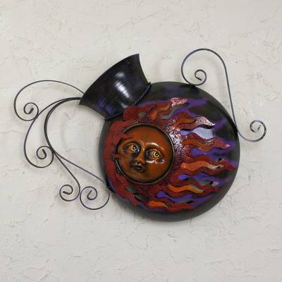 Iron wall lamp, 'Jar of Sunbeams' - Handcrafted Iron Sculpture Wall Lamp with Ceramic Sun Face