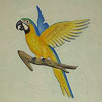 Steel wall art, 'Golden Blue Macaw' - Hand Crafted Macaw Steel Wall Sculpture from Mexico