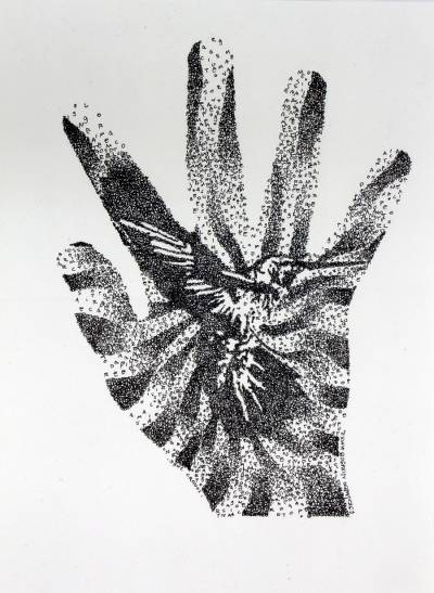 Abstract Hummingbird on Hand Black and White Painting