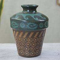 Ceramic decorative vase, 'Pacific Waves' - Artisan Crafted Ceramic Decorative Vase in Green on Brown