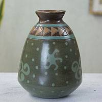 Ceramic decorative vase, 'Aztec Stars' - Artisan Crafted Earthy Ceramic Decorative Vase from Mexico