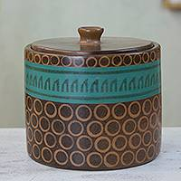 Decorative ceramic jar, 'By the Sea' - Hand Crafted Ceramic Decorative Jar in Brown and Green