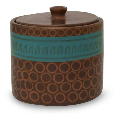 Hand Crafted Ceramic Decorative Jar in Brown and Green