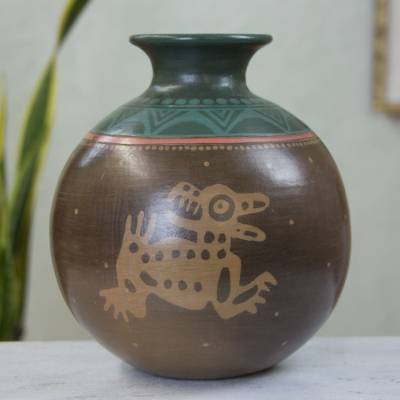 Ceramic decorative vase, 'Running Coyotes' - Hand Crafted Ceramic Pre-Hispanic Style Decorative Vase