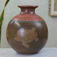 Ceramic decorative vase, 'Aztec Turtles' - Artisan Crafted Ceramic Pre Hispanic Theme Vase from Mexico