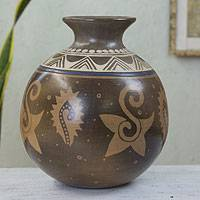 Ceramic decorative vase, 'Aztec Leaves' - Artisan Crafted Ceramic Decorative Vase from Mexico