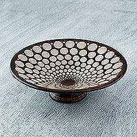 Ceramic centerpiece, 'Hypnotic Eclipse' - Artisan Crafted Ceramic Centerpiece from Mexico