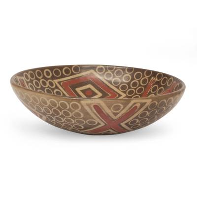 Hand Crafted Aztec Design Ceramic Centerpiece from Mexico