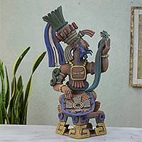 Ceramic sculpture, 'Aztec Warrior and Quetzal' - Hand Crafted Collectible Aztec Ceramic Replica Sculpture