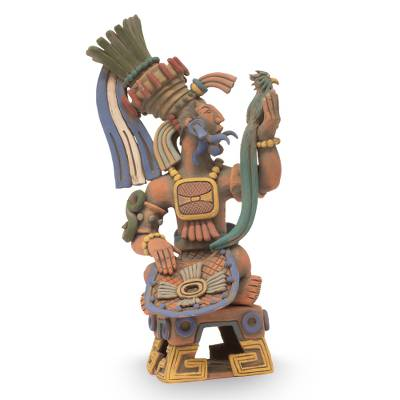 Ceramic sculpture, 'Aztec Warrior and Quetzal' - Hand Crafted Collectible Aztec Ceramic Replica Sculpture