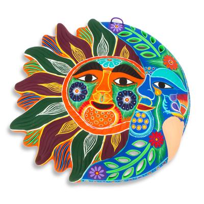 Ceramic wall adornment, 'Happy Eclipse' - Sun and Moon Hand Crafted Multicolor Ceramic Wall Adornment