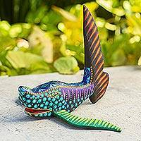 Alebrije wood statuette, 'Vigilant Shark' - Artisan Crafted Multicolored Alebrije Shark Wood Sculpture