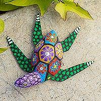 Alebrije wood statuette, 'Psychedelic Turtle' - Hand Painted Alebrije Turtle Wood Sculpture from Mexico