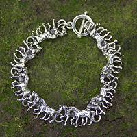 Sterling silver link bracelet, 'Equine' - Two-in-One Horses in Sterling Silver Bracelet Rustic Look
