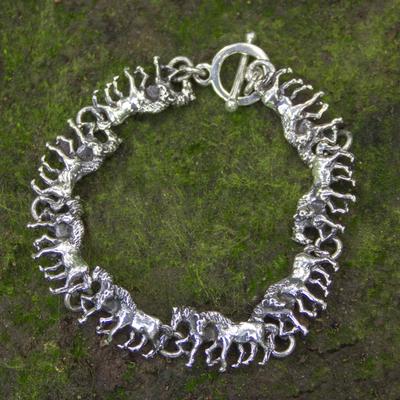 Sterling silver link bracelet, 'Equine' - Two-in-One Horses in Sterling Silver Bracelet Rustic Look