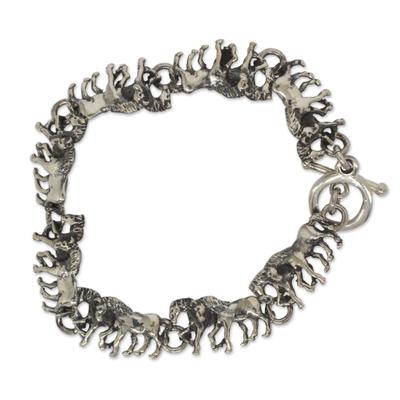 Two-in-One Horses in Sterling Silver Bracelet Rustic Look