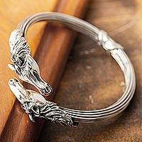 Sterling silver bangle bracelet, 'Equine Pride' - Fair Trade Sterling Silver Cuff Bracelet Crafted by Hand