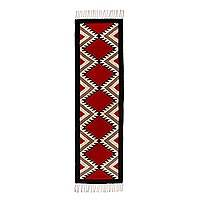 Zapotec wool rug, 'Red Star Path' (2x7) - Loom Woven Red and Black Zapotec Wool Rug (2 x 7 Feet)