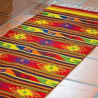 Zapotec wool rug, 'Scarlet Sky Path' (2x7)