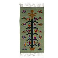 Zapotec wool rug, 'Verdant Staff of Life' (2x3.5) - Artisan Crafted Green Wool Area Rug with Birds (2x3.5)