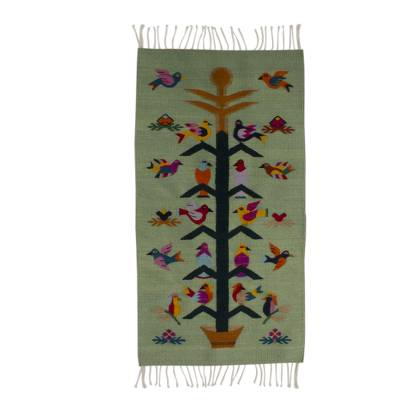 Artisan Crafted Green Wool Area Rug with Birds (2x3.5)