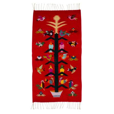 Zapotec wool rug, 'Scarlet Staff of Life' (2x3.5) - Artisan Crafted Red Wool Area Rug with Birds (2x3.5)