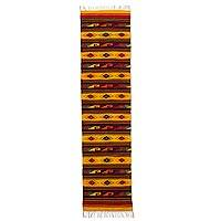 Zapotec wool rug, 'Yellow Sky Path' (2x10) - Authentic Handwoven Zapotec Wool Runner in Yellow (2 x 10)