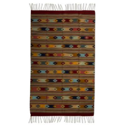 Zapotec wool rug, 'A Thousand Stars' (6.5x10) - Large Handwoven Pastel Zapotec Wool Rug (6.5 x 10)