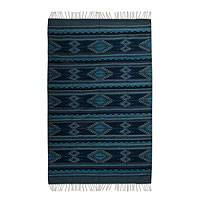 Zapotec wool rug, 'Blue Starlight' (6.5x10)