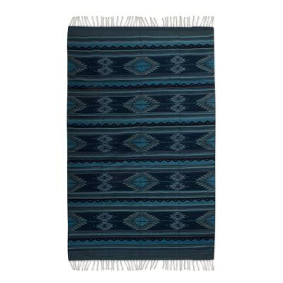 Zapotec wool rug, 'Blue Starlight' (6.5x10) - Large Blue Handwoven Zapotec Wool Rug (6.5 x 10)