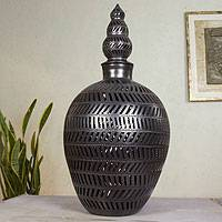 Ceramic decorative jar, 'Oaxaca Night' - Handcrafted Oaxaca Black Pottery Decorative Jar and Lid