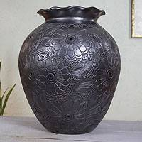 Ceramic vase, 'Black Bouquet' - Large Handmade Black Pottery Floral Vase with Ruffled Lip