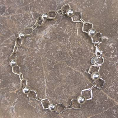 Novica Sterling silver link necklace, Wave of Light