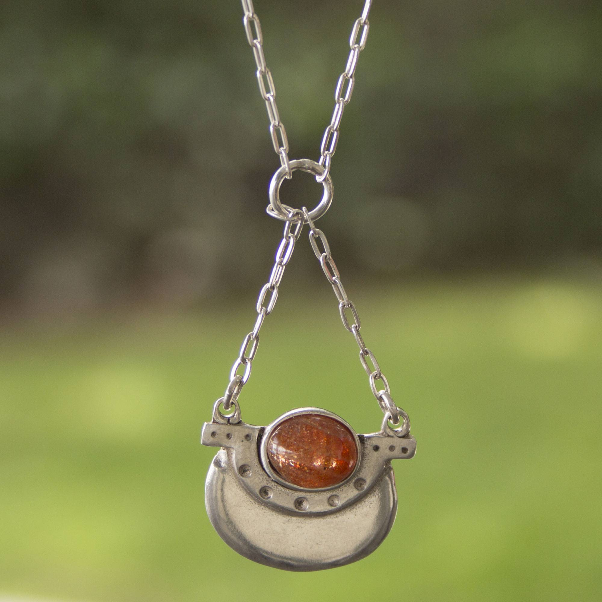 orange in necklace unicef silver product libra sterling uk sunstone close pendant market