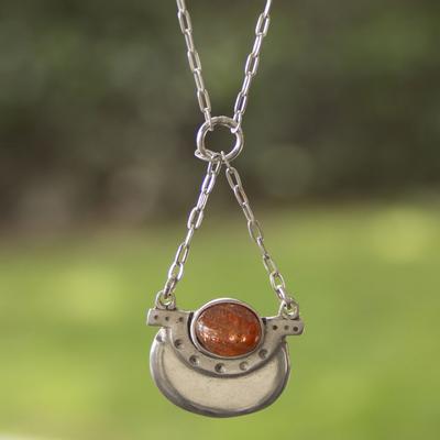 Sunstone pendant necklace, 'Libra in Orange' - Libra Sunstone Pendant Necklace in Sterling Silver