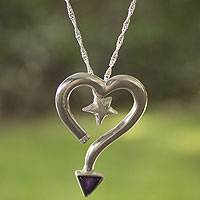 Amethyst pendant necklace, 'Sagittarius' - Sagittarius Zodiac Necklace in Sterling Silver and Amethyst