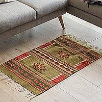 Zapotec wool rug, 'Reach for the Stars' (2x3.5) - Zapotec Wool Rug Colored with All Natural Dyes (2x3.5)