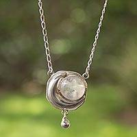 Rainbow moonstone pendant necklace, 'Cancer Moon'