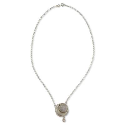 Rainbow moonstone pendant necklace, 'Cancer Moon' - Sterling Silver Moon Pendant Necklace