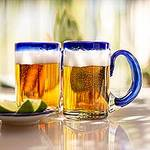 Mexican Beer Glasses with Cobalt Handle and Rim (Set of 6), 'Cobalt Beer'