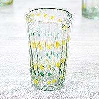 Blown glass tumbler glasses, 'Fresh' (set of 6)