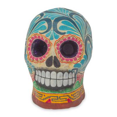 Ceramic figurine, 'Death in Blue' - Hand Painted Ceramic Skull Figurine Day of the Dead