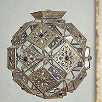 Glass and tin hanging lamp, 'Aztec Star' - Hand Crafted Tin and Glass Hanging Lamp from Mexico