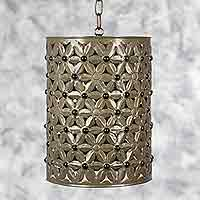 Glass and tin hanging lamp, 'Margaritas' - Mexican Hand Made Tin and Glass Cylindrical Hanging Lamp